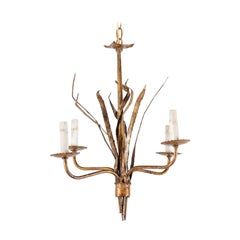 French Mid-20th Century Four-Light Iron Toned Chandelier in Leaf Foliage Motif