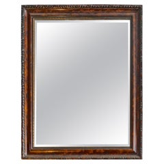 French Mid-20th Century Hand Craved Walnut and Mahogany Framed Beveled Mirror