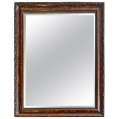 French Mid-20th Century Hand Craved Walnut and Mahogany Framed Mirror