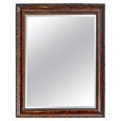 French Mid-20th Century Hand Craved Walnut and Mahogany Framed Beveled Mirror