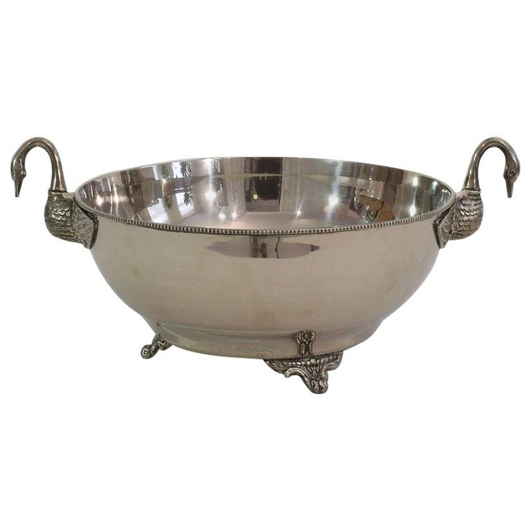 French Mid-20th Century Hollywood Regency Silver Plate Champagne Cooler For Sale
