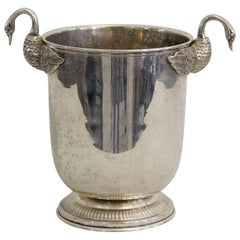 French Mid-20th Century Hollywood Regency Silver Plate Wine Cooler