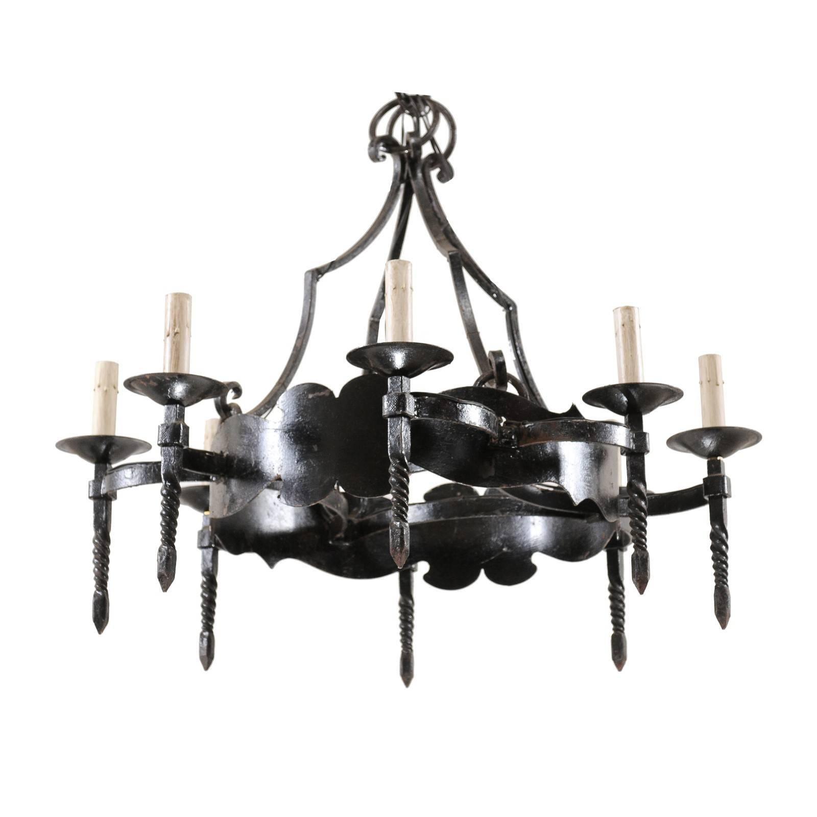 French Mid-20th Century Iron Ring Chandelier with Eight Torch-Shaped Lights
