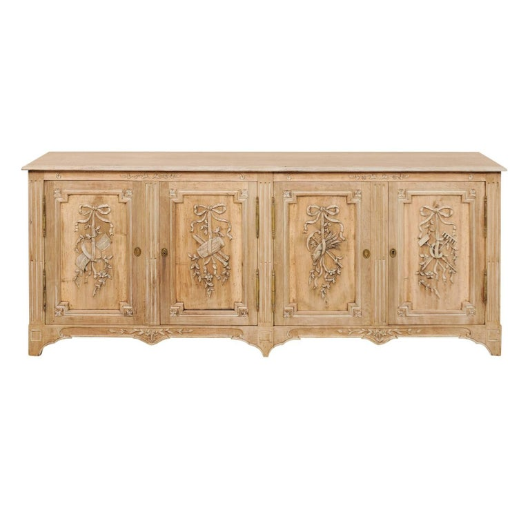 French Mid-20th Century Light Wood Toned and Nicely Carved Sideboard