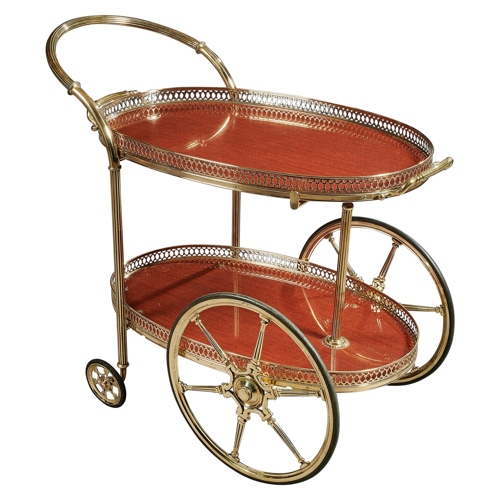 French Mid-20th Century Oval Brass Bar Cart with Removable Tray