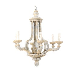 French Mid-20th Century Painted and Carved Wood Six-Light Chandelier