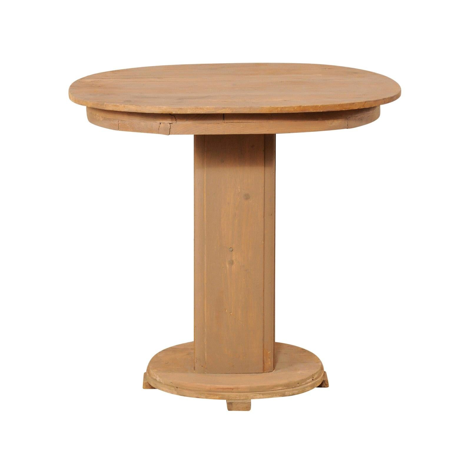 French Mid-20th Century Painted Wood Oval Top Pedestal Table
