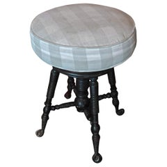 French Mid-20th Century Revolving Walnut Piano Stool with Fabric Covered Seat
