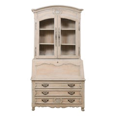 French Mid-20th Century Secretary Curio Cabinet with Drop Front Writing Desk