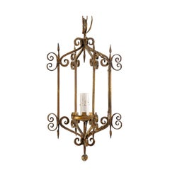 French Mid-20th Century Single Light Scrolled Iron Chandelier in Gold Bronze Hue