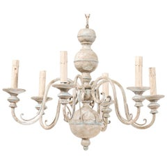 French Mid-20th Century Carved & Painted Wood and Iron Six-Light Chandelier