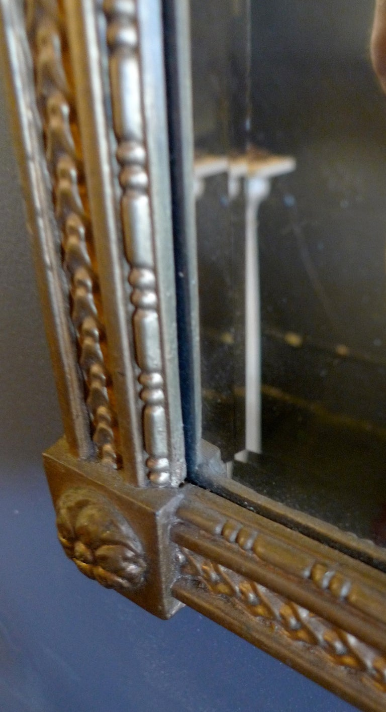 French Mid-20th Century Small Gold Painted Frame with Beveled Mirror Glass In Distressed Condition For Sale In Santa Monica, CA