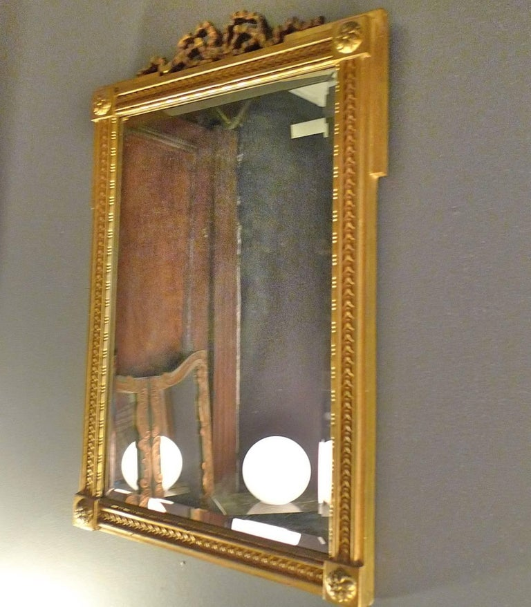 French Mid-20th Century Small Gold Painted Frame with Beveled Mirror Glass For Sale 3