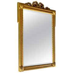 French Mid-20th Century Small Gold Painted Frame with Beveled Mirror Glass