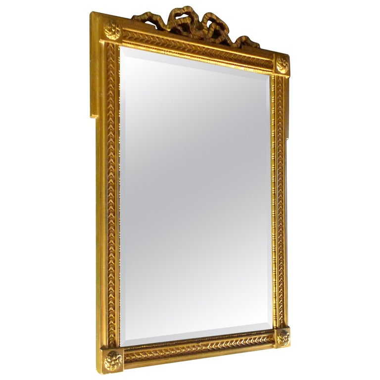 French Mid-20th Century Small Gold Painted Frame with Beveled Mirror Glass For Sale