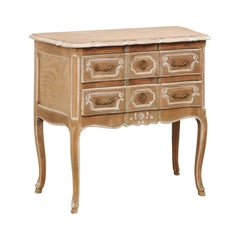 French Mid-20th Century Two-Drawer Elegantly Raised Bleached Wood Chest