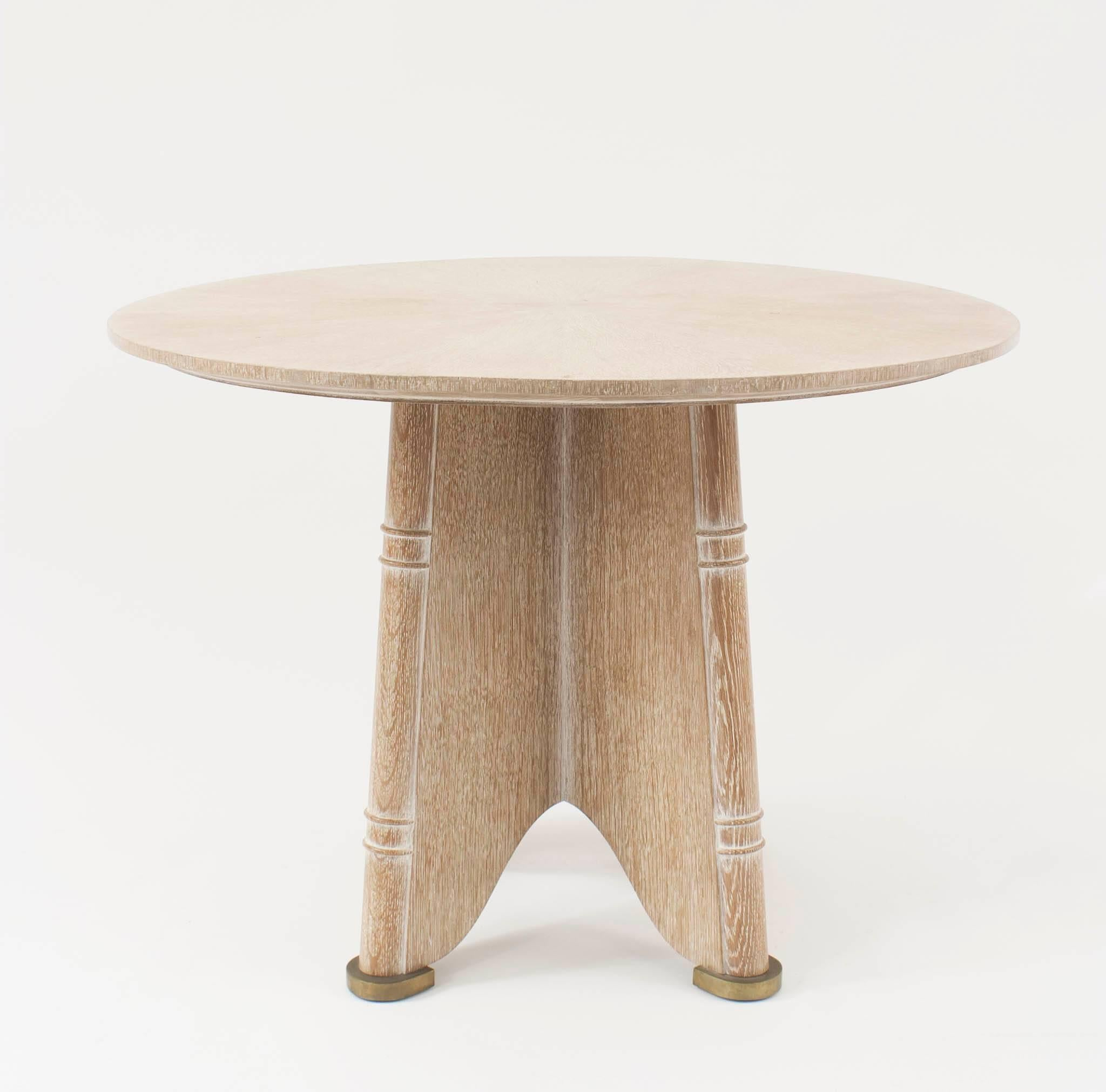 French Midcentury 1930s Bleached Ceruse Oak End Or Side Table With A Round  Sunburst Design Top