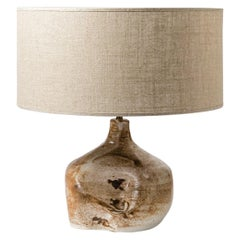 French Midcentury Abstract Stoneware Ceramic Tabe Lamp, circa 1950