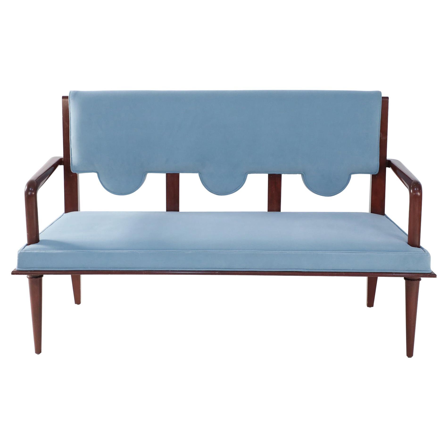 French Mid-Century Arbus Style Light Blue Velvet Upholstered Loveseat Teak Frame