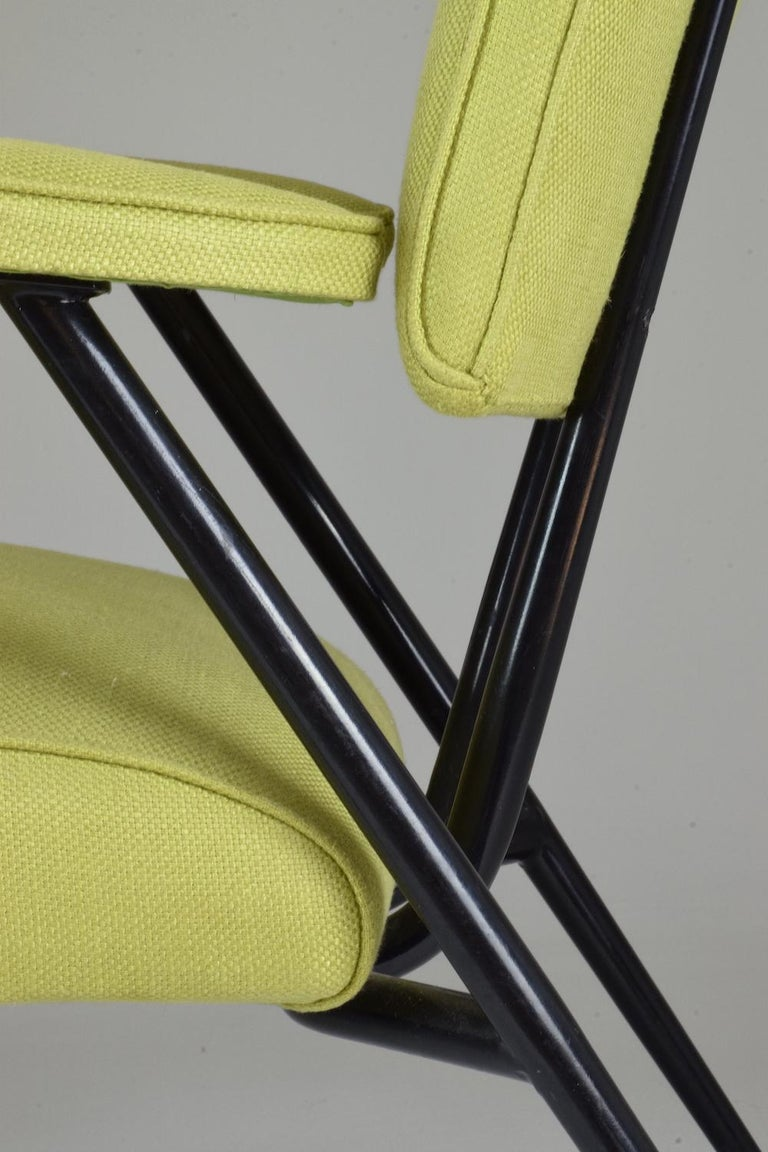 Steel French Midcentury Armchairs, Set of Four, 1950s For Sale