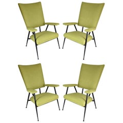 French Midcentury Armchairs, Set of Four, 1950s