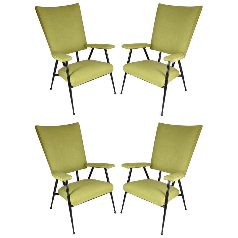 French Midcentury Armchairs, Set of Four, 1950s For Sale