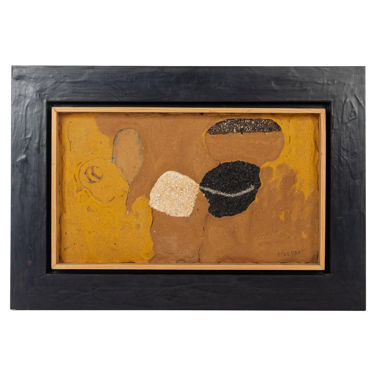 French Mid-Century Art Work by Jean Piaubert Plaster & Mixed Media on Panel 1965 For Sale