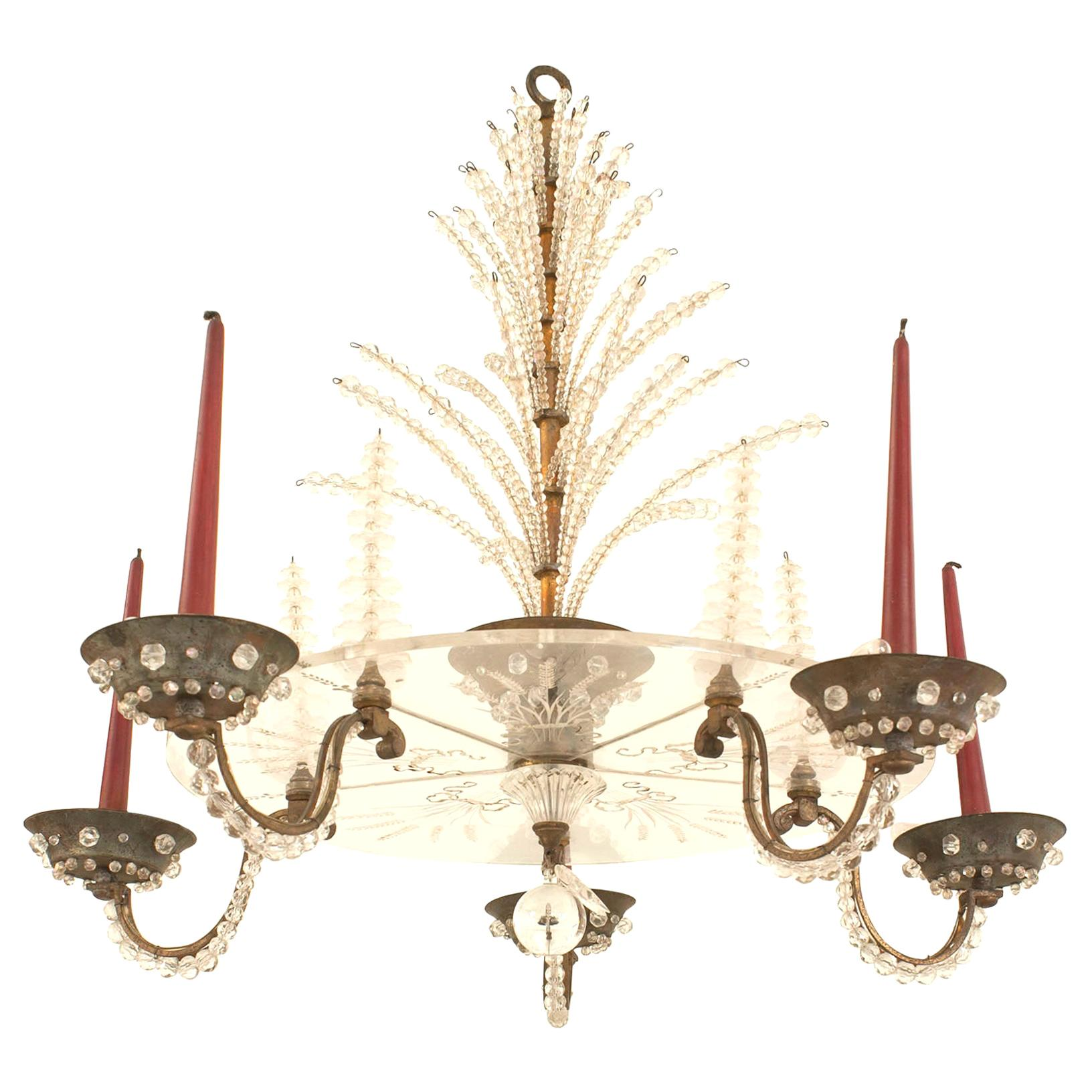 French Mid-Century Attributed to Baguès Bronze and Glass Chandelier