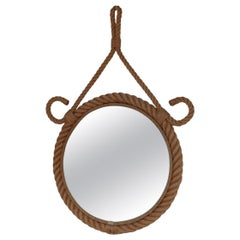 French Mid-Century Audoux et Minet Rope Mirror