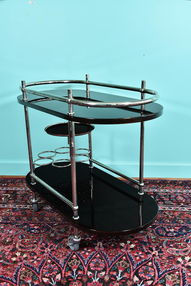 French Midcentury Bar Cart or Serving Cart in Palisander 1