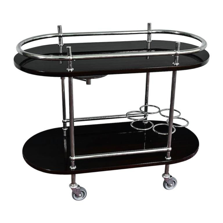 French Midcentury Bar Cart or Serving Cart in Palisander