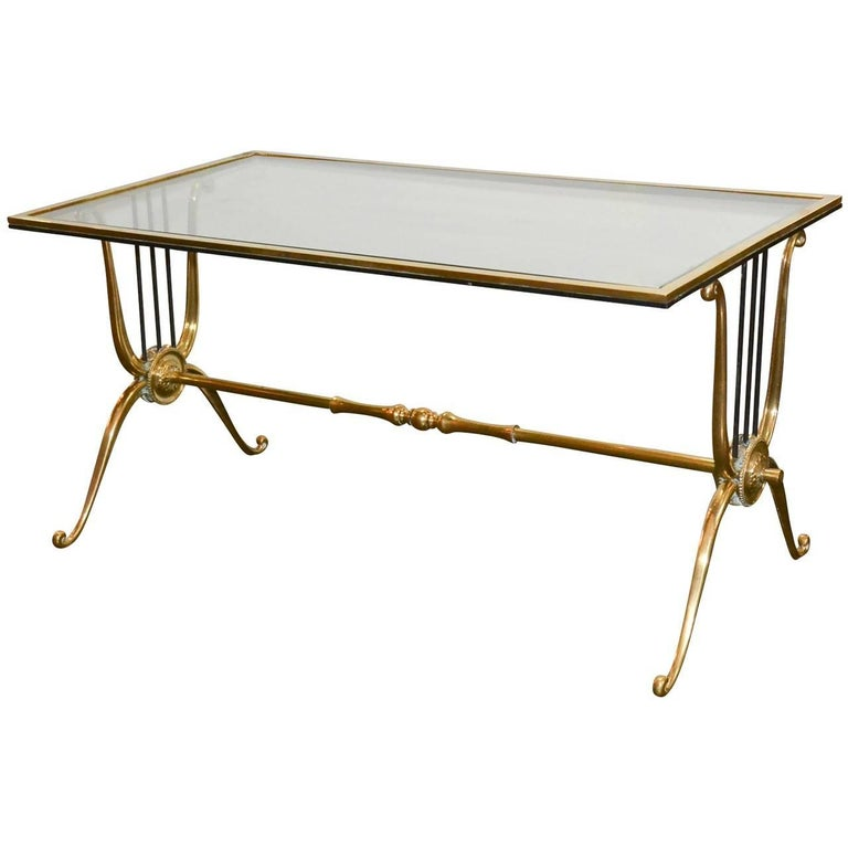 French Midcentury Brass and Glass Coffee Table