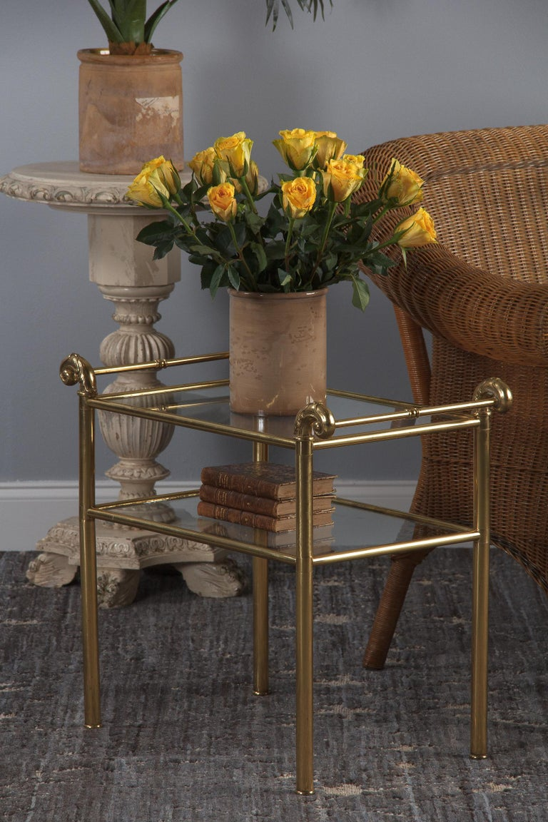 French Mid-Century Brass Side Table with Glass Tops, 1950s For Sale 5