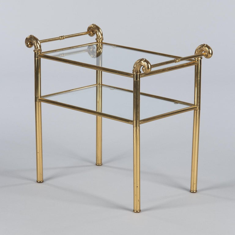 French Mid-Century Brass Side Table with Glass Tops, 1950s For Sale 7