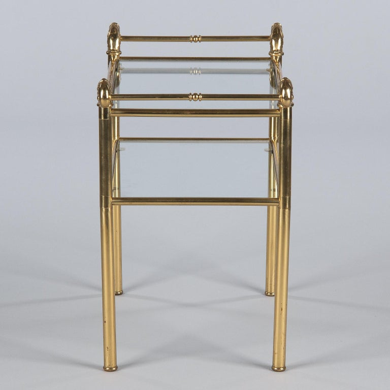 French Mid-Century Brass Side Table with Glass Tops, 1950s For Sale 8