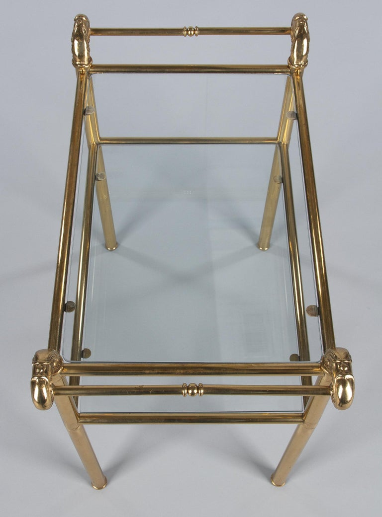 French Mid-Century Brass Side Table with Glass Tops, 1950s For Sale 9