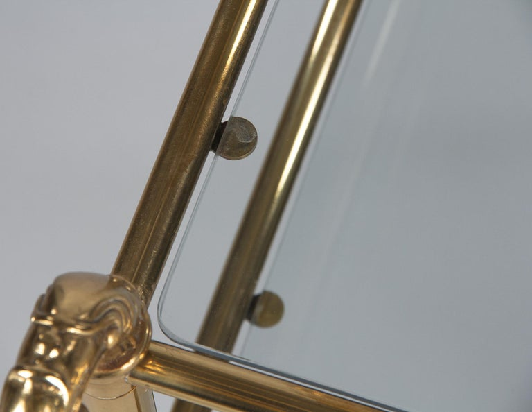 French Mid-Century Brass Side Table with Glass Tops, 1950s For Sale 10
