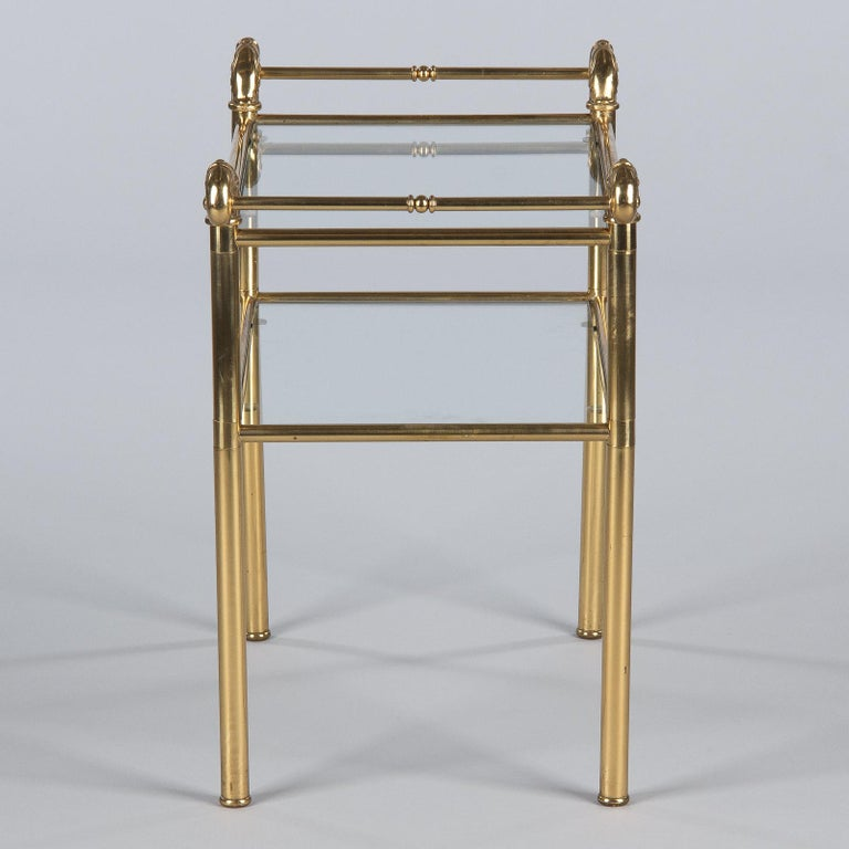 French Mid-Century Brass Side Table with Glass Tops, 1950s For Sale 12