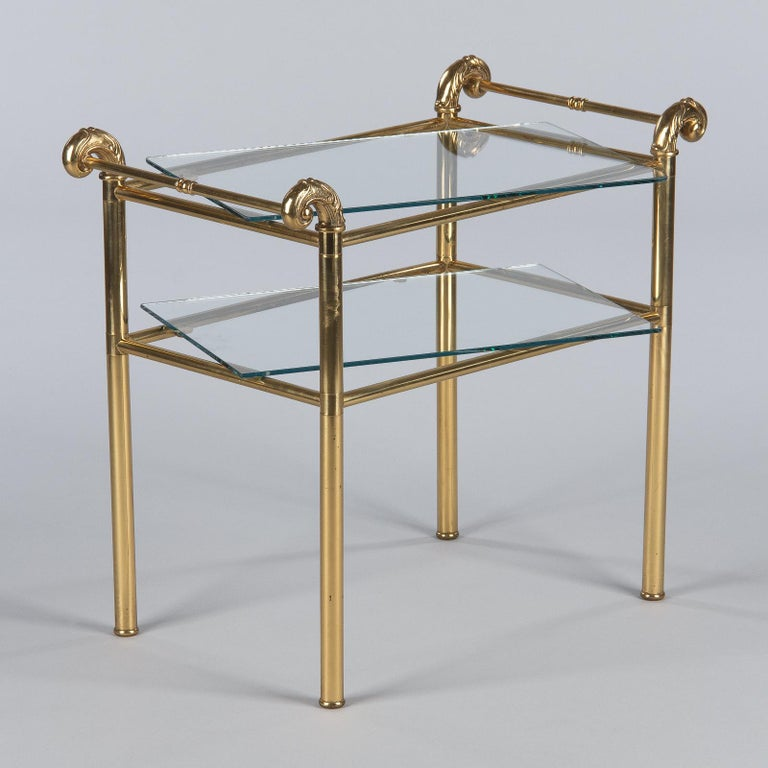 French Mid-Century Brass Side Table with Glass Tops, 1950s For Sale 14