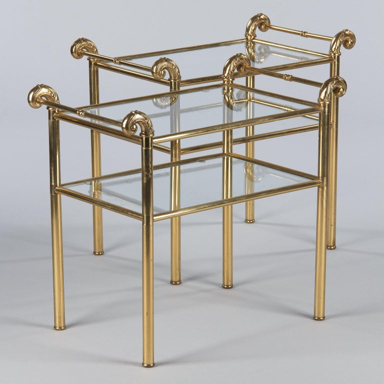 Mid-Century Modern French Mid-Century Brass Side Table with Glass Tops, 1950s For Sale