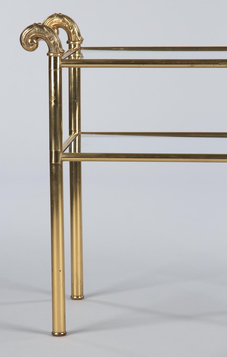 French Mid-Century Brass Side Table with Glass Tops, 1950s For Sale 2