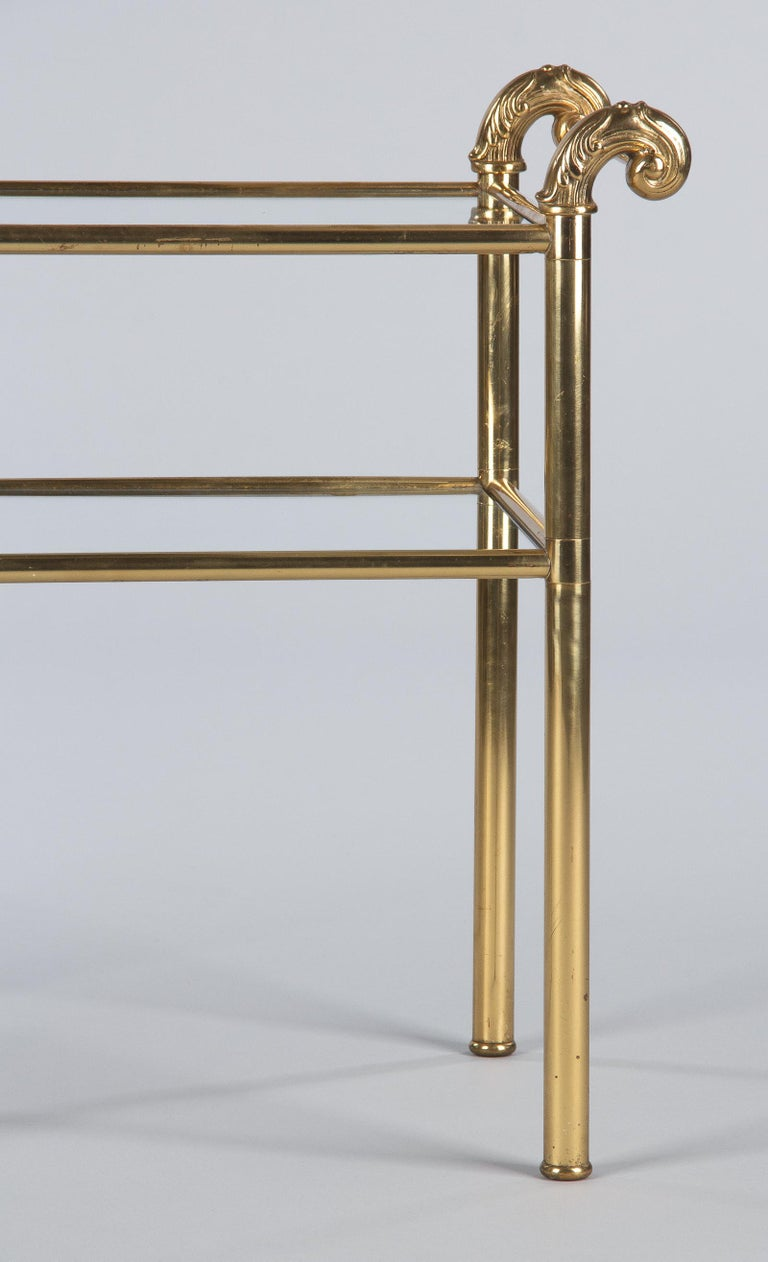 French Mid-Century Brass Side Table with Glass Tops, 1950s For Sale 3
