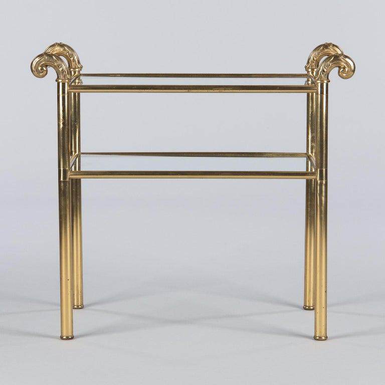 French Mid-Century Brass Side Table with Glass Tops, 1950s For Sale 4