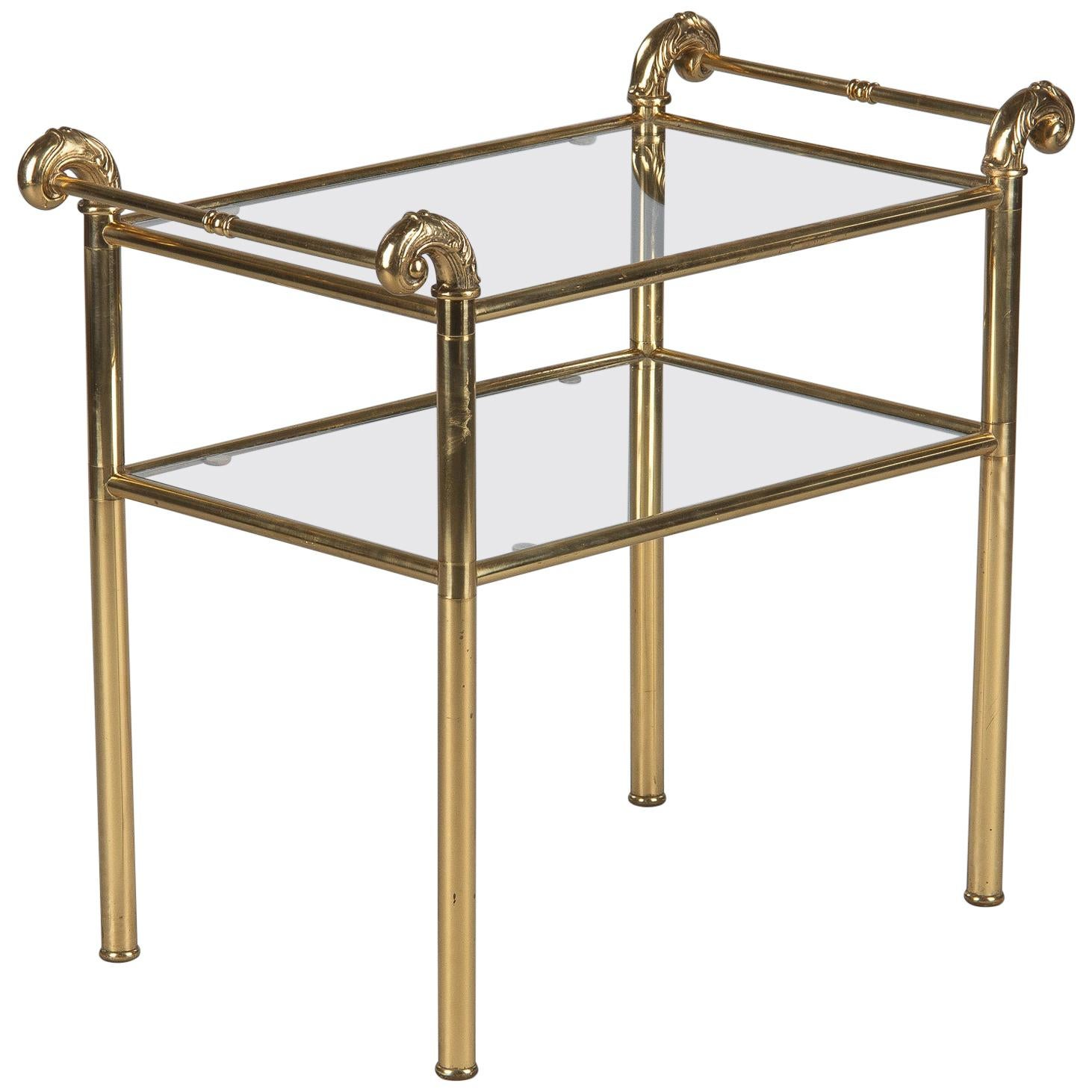 French Mid-Century Brass Side Table with Glass Tops, 1950s