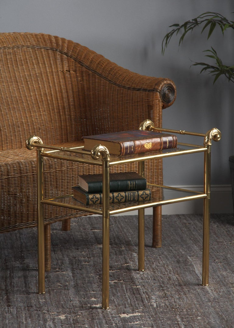 French Mid-Century Brass Side Table with Glass Tops For Sale 5