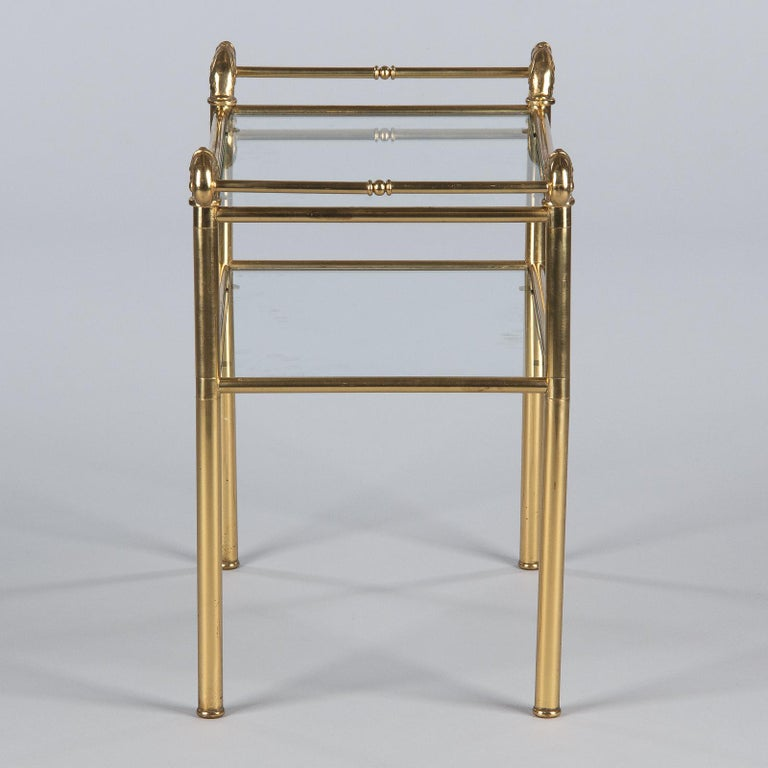 French Mid-Century Brass Side Table with Glass Tops For Sale 6