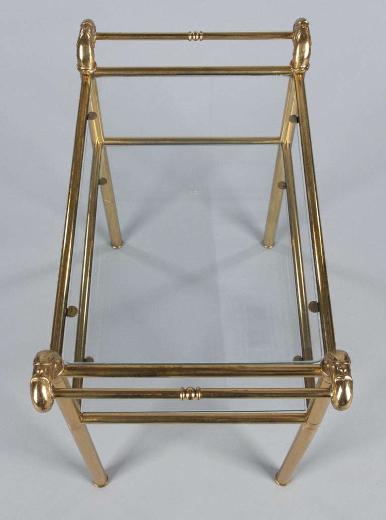 French Mid-Century Brass Side Table with Glass Tops For Sale 8