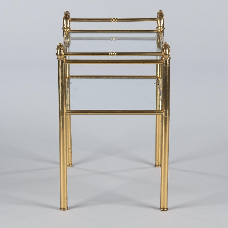 French Mid-Century Brass Side Table with Glass Tops For Sale 10