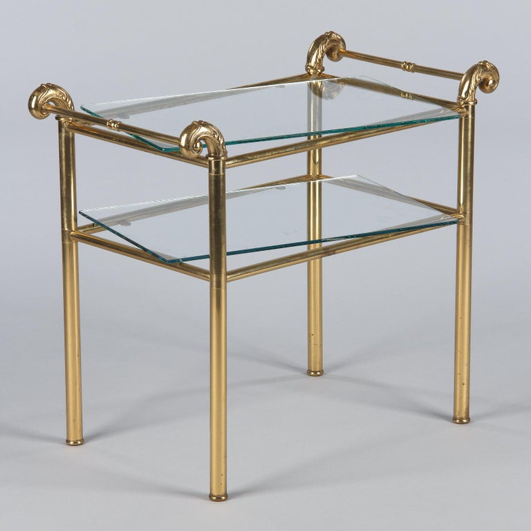 French Mid-Century Brass Side Table with Glass Tops For Sale 11