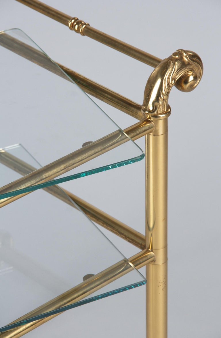 French Mid-Century Brass Side Table with Glass Tops For Sale 12